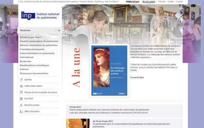 Aperçu du site web de l'Institut national du patrimoine2